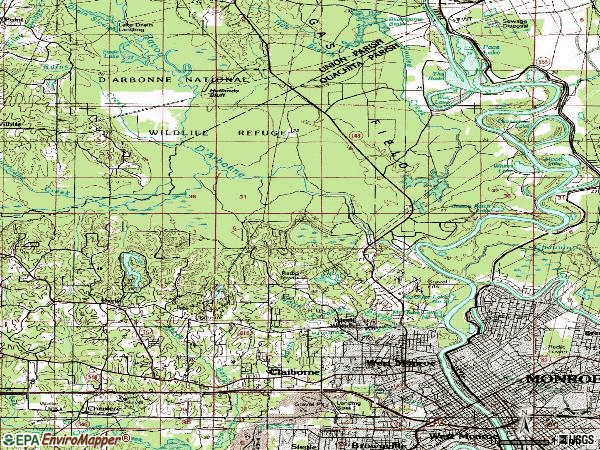 Zip code 71291 topographic map