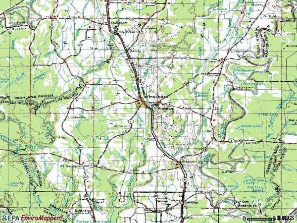 Zip code 71295 topographic map
