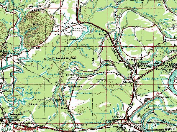 Zip code 71326 topographic map