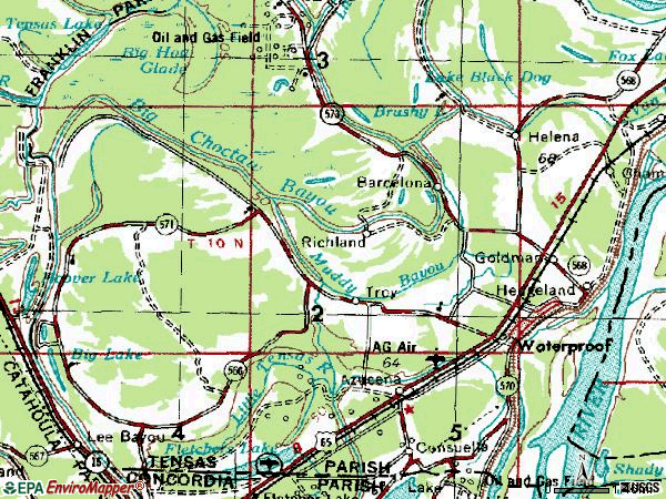 Zip code 71375 topographic map