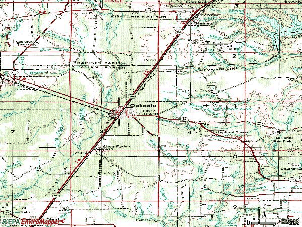 Zip code 71463 topographic map