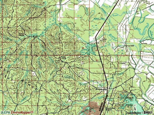 Zip code 71485 topographic map
