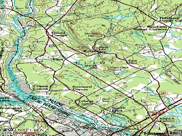 Zip code 03903 topographic map