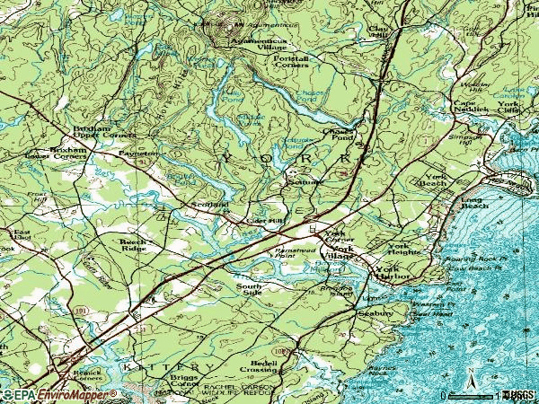 Zip code 03909 topographic map