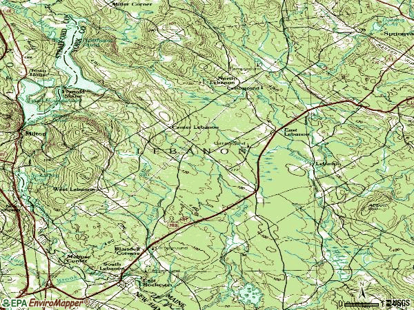 Zip code 04027 topographic map