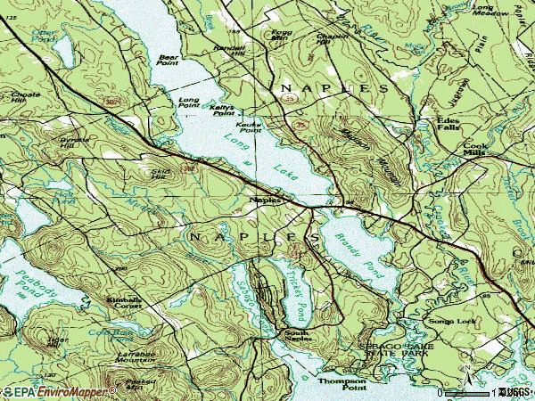 Zip code 04055 topographic map