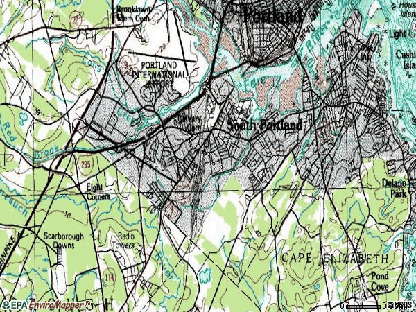 Zip code 04106 topographic map