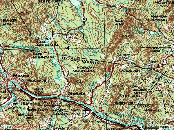 Zip code 04224 topographic map