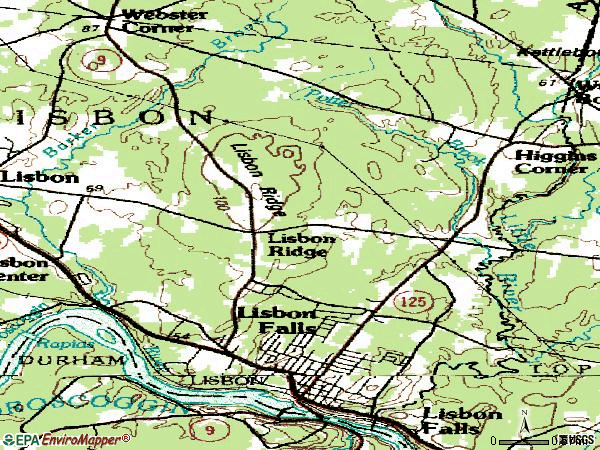 Zip code 04252 topographic map