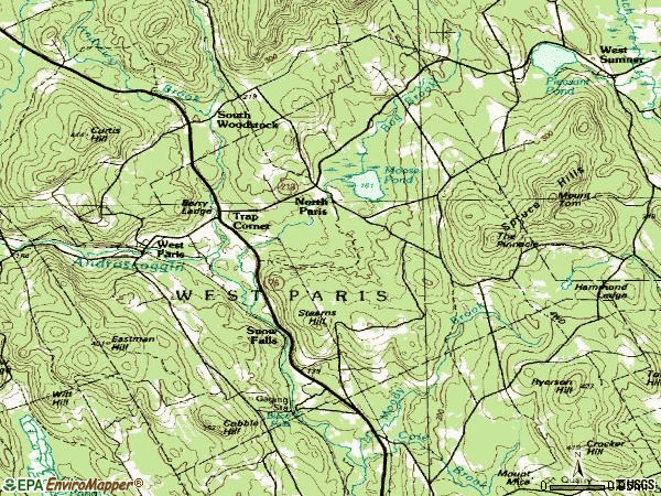 Zip code 04289 topographic map