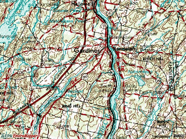 Zip code 04345 topographic map