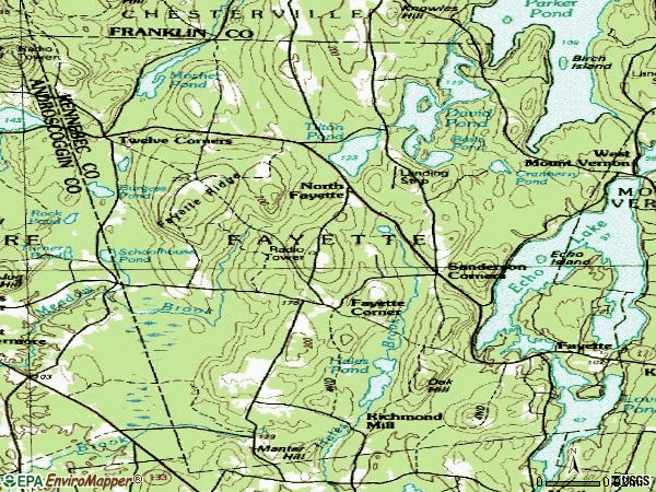 Zip code 04349 topographic map