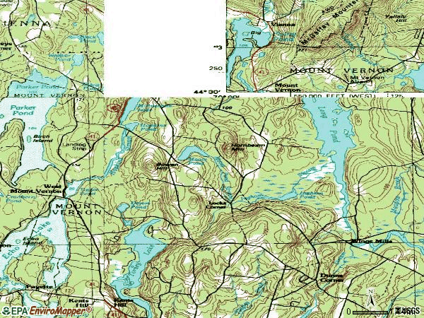 Zip code 04352 topographic map
