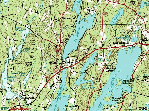 Zip code 04364 topographic map