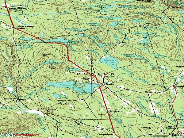 Zip code 04464 topographic map