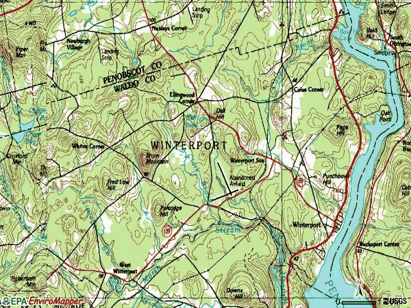 Zip code 04496 topographic map
