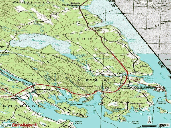 Zip code 04667 topographic map