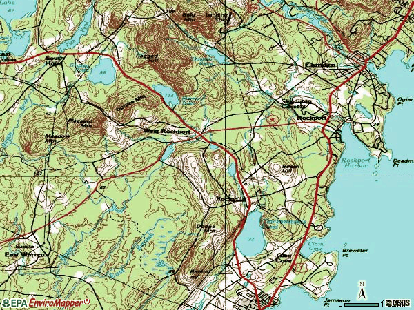 Zip code 04856 topographic map