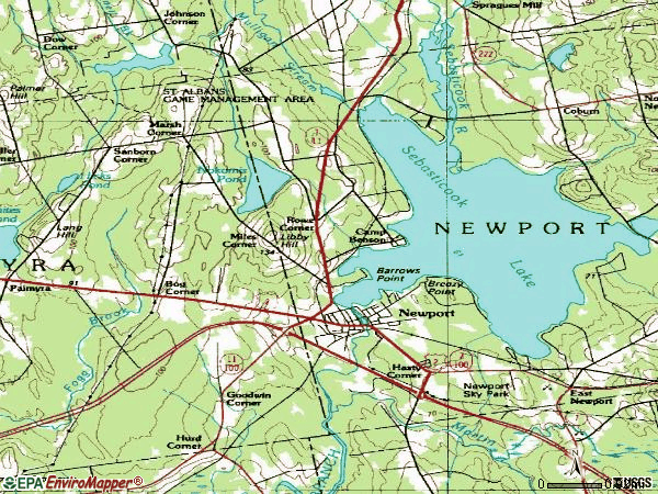 Zip code 04953 topographic map