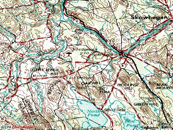Zip code 04957 topographic map