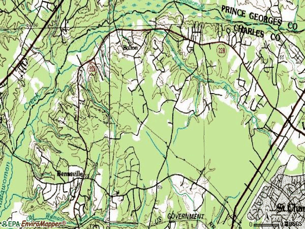 Zip code 20603 topographic map