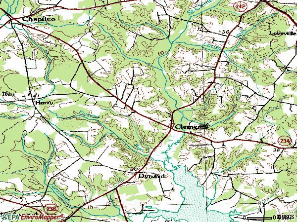 Zip code 20624 topographic map