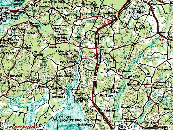 Zip code 20646 topographic map