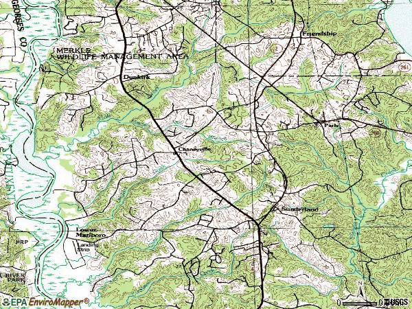 Zip code 20736 topographic map