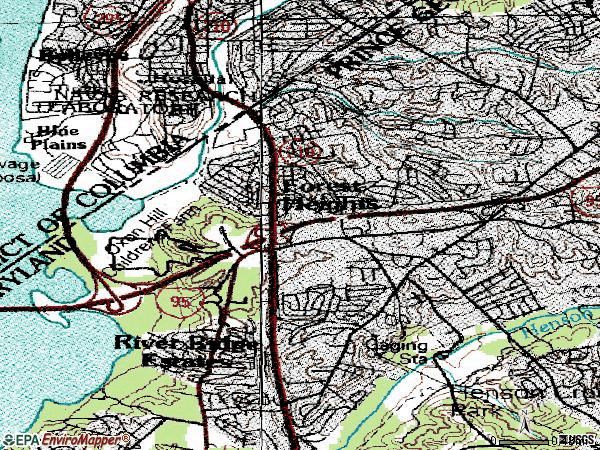 Zip code 20745 topographic map