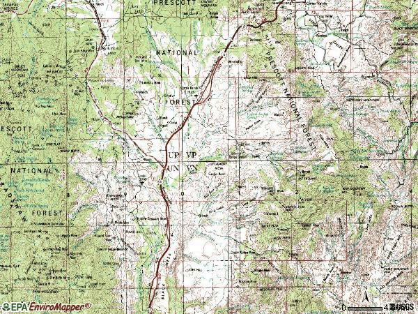 Zip code 86333 topographic map