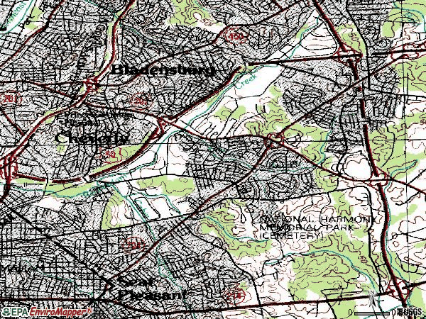 Zip code 20785 topographic map