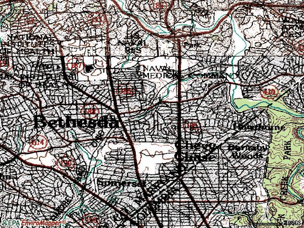 Zip code 20815 topographic map