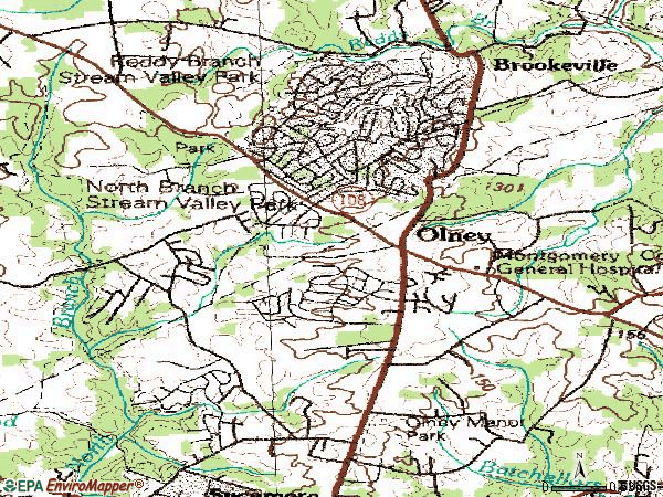 Zip code 20832 topographic map