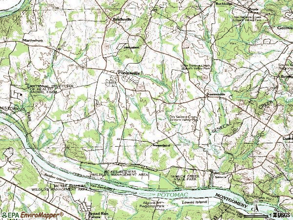 Zip code 20837 topographic map