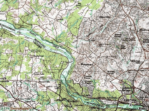 Zip code 20854 topographic map