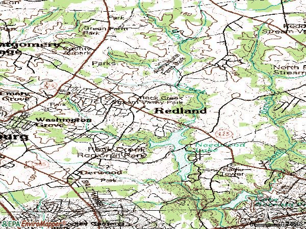 Zip code 20855 topographic map