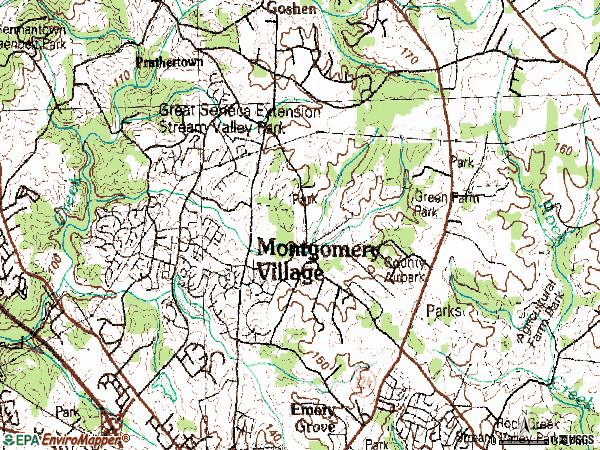 Zip code 20879 topographic map