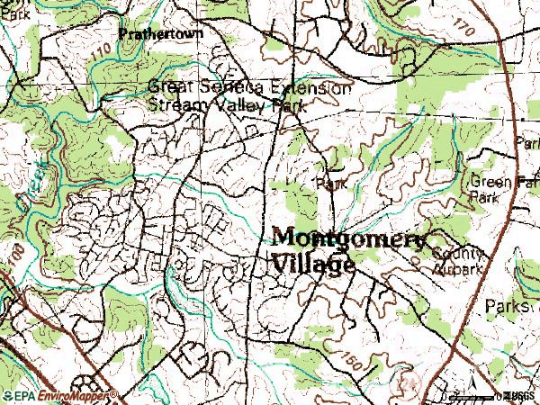 Zip code 20886 topographic map
