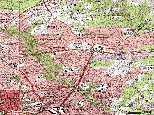 Zip code 20903 topographic map
