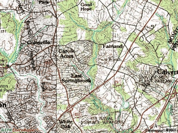 Zip code 20904 topographic map