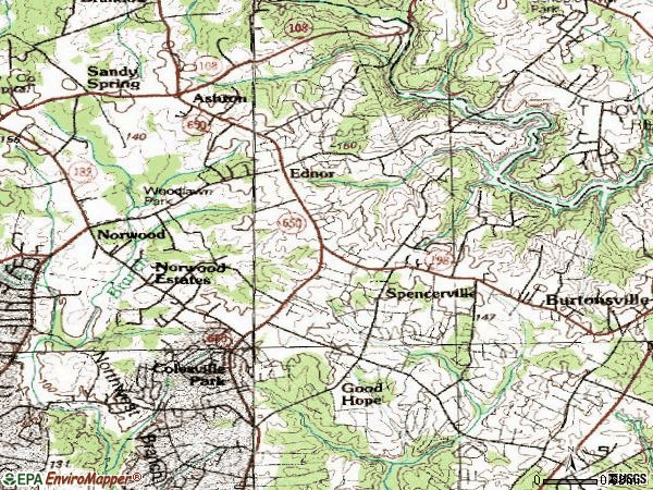 Zip code 20905 topographic map