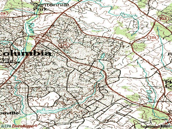 Zip code 21045 topographic map