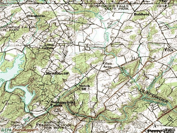 Zip code 21057 topographic map