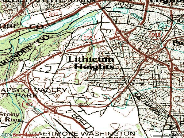 Zip code 21090 topographic map