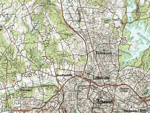 Zip code 21093 topographic map