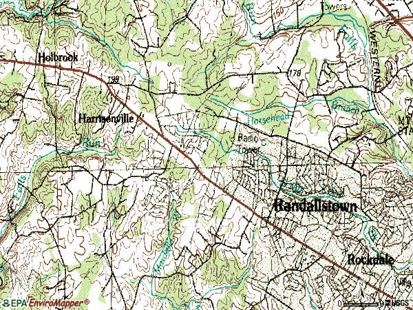 Zip code 21133 topographic map