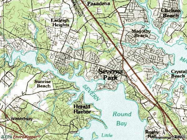 Zip code 21146 topographic map