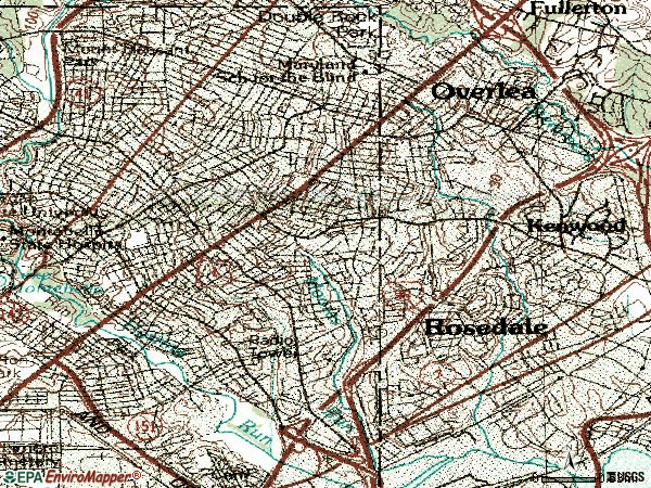 Zip code 21206 topographic map