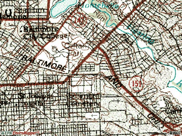 Zip code 21213 topographic map