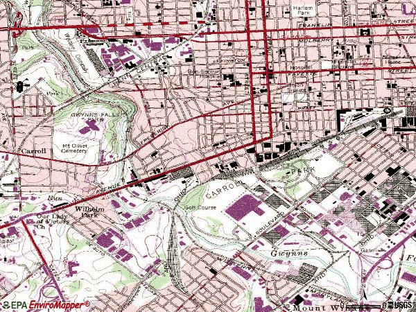 Zip code 21223 topographic map